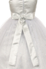 Silver Glitter Tulle & Satin Girls Formal Occasion Dress (352)