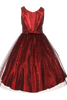 Red Satin & Black Sparkle Tulle Overlay Girls Formal Occasion Dress (352)