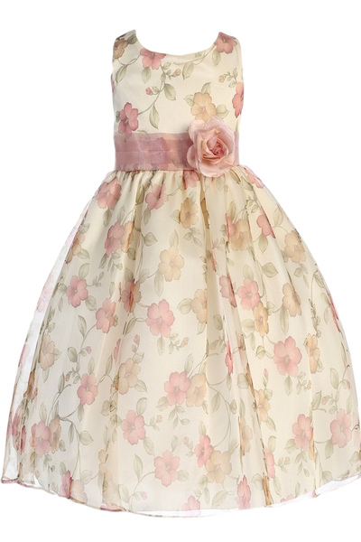 Vintage Rose Floral Print Organza Organza Girls Dress (199)