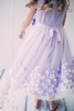 Girls Lavender Mesh Overlay Dress with Taffeta & Chiffon Flowers  KD332