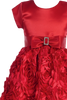Red Floral Ribbon Girls Holiday Dress w. Cap Sleeve Satin Bodice  C936