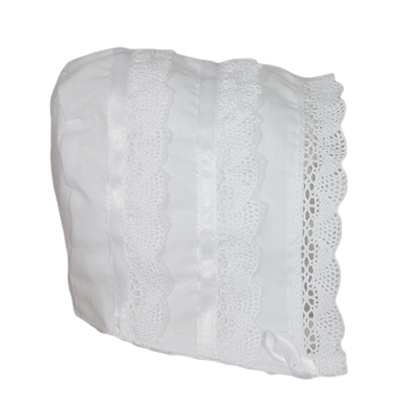 Cluny Lace Handmade Cotton Batiste Bonnet Baby Girls (CA25GB)