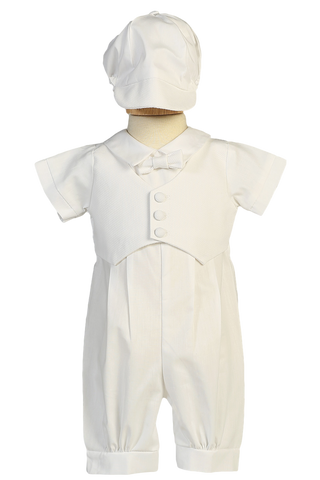 Boys Cotton Christening Coverall Set w. Pique Vest & Cap  Tyler