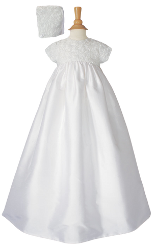 Ribbon Flowers on Cotton Sateen Handmade Christening Gown CS56GS