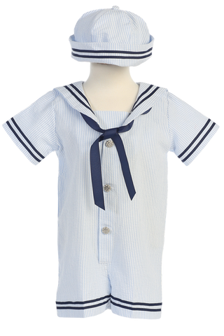 Light Blue Seersucker Nautical Sailor Romper Spring Outfit Baby Boys (G255)