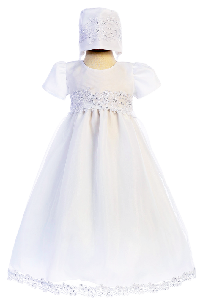 Floral Corded Lace & Organza Baptism Gown Baby Girls – Rachel\'s Promise