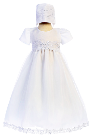 Organza Christening Gown w. Floral Lace Cording Baby Girls 0-18M Audrey