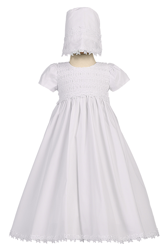 Cotton Christening Gown, Smocked w Venise Lace Trim Baby Girls ...