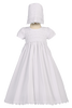 Cotton Christening Gown, Smocked w Venise Lace Trim Baby Girls - Diana