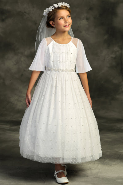 Girls White Shirred Mesh Full Length Communion Dress with Pearl Accents