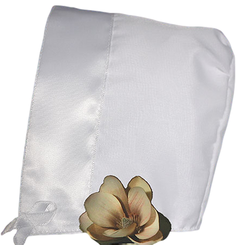Organza Overlay White Poly Cotton Handmade Bonnet with Satin Trim (Infant Girls 0 - 12 months)