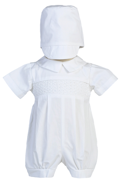 Smocked Romper w Hat Boys Cotton Christening Outfit (Jeremy)
