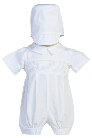 Smocked Cotton Baby Boys Baptism Christening Romper w. Pleating & Hat  Jeremy