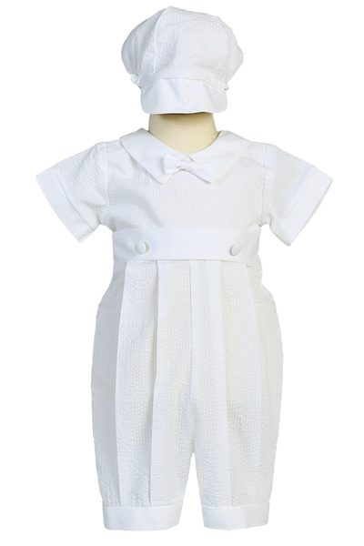 White Cotton Seersucker Boys Baptism Romper w. Solid Trim  Raymond
