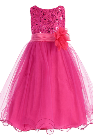 Fuchsia Sequin, Satin & 2 Layered Mesh Girls Formal Occasion Dress (305)
