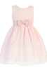 Girls Pink Satin w. Burnout Organza Overlay Dress M732