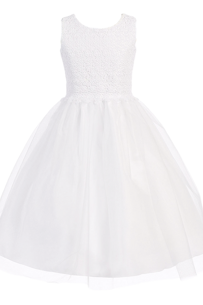 Floral Lace & Tulle Overlay Girls Communion Dress  SP141