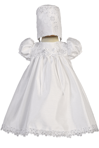 Yoke Bodice Infant Girls Shantung & Floral Embroidered Baptism Dress Becky