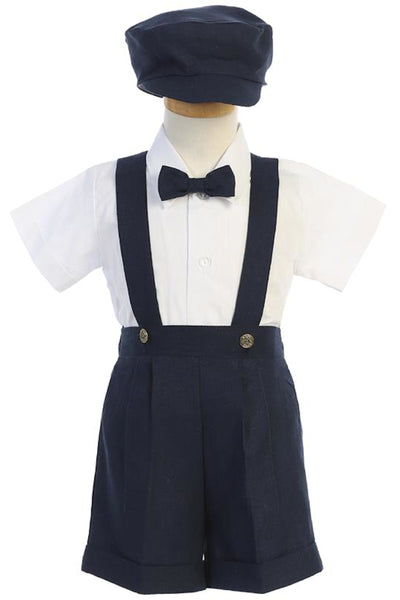 Navy Blue Linen Blend Suspender Short Set w Newsboy Cap G836