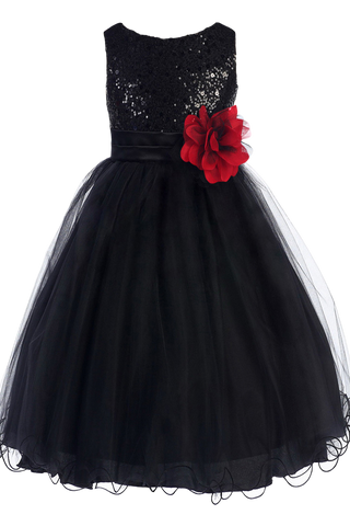 Girls Black Sequin Party Dress w. Lettuce Tulle Hem KD305
