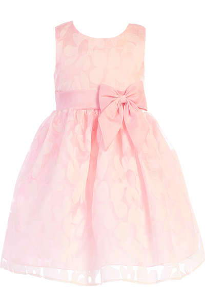 Pink Satin & Burnout Organza Overlay Easter Spring Dress Girls (M729)