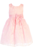 Girls Pink Satin & Floral Burnout Organza Dress M729