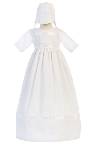 Cotton Blend Unisex Christening Gown Pin Tuck & Ribbon Trim  Riley