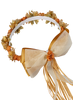 Gold Silk & Satin Floral Crown Wreath w Back Bows Girls (HB007)