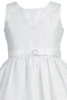 Floral Embroidered Organza First Holy Communion Dress w Scalloped Hem (SP150)