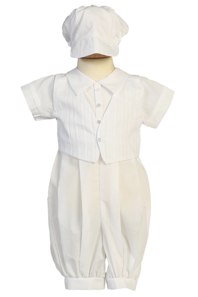Cotton Coverall w Embroidered Vest Christening Outfit (Tristan)