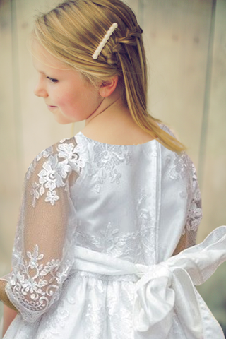 Floral Damask Embroidered White Tulle First Holy Communion Dress (SP139)