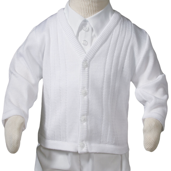 Knit Cardigan Sweater Soft White Acrylic Baby Boys (CKBOYS)