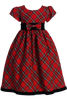 Red & Green Plaid Girls Holiday Dress w. Velvet Trim  C813