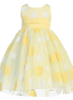 Glittering Polka Dot Girls Yellow Tulle Dress w. Shantung Sash  M680