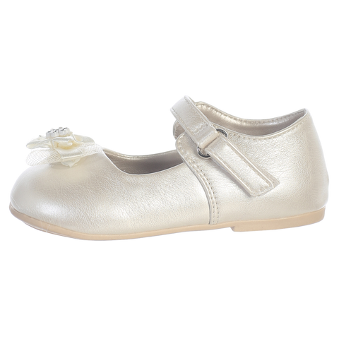 Ivory Dress Shoes w Velcro Strap & Flower Baby Girls (Joyce)