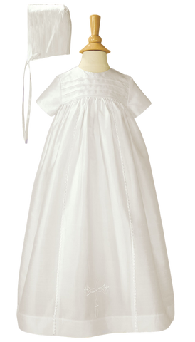 Silk Dupioni Handmade Generation Heirloom Christening Gown w Bonnet Baby Girls or Boys (DP03GS)