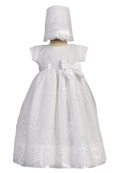 Embroidered Organza & Satin Trim Long Christening Gown Baby Girls - Kendall