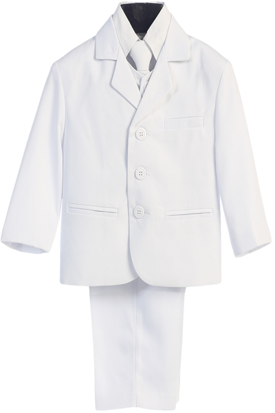 White Single Breasted Dress Suit 5 Piece Boys (3710)