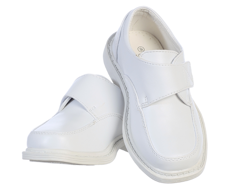 White Matte Oxford Dress Shoes with Velcro Strap Boys (Frank)