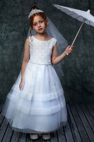 Organza First Holy Communion Dress w Pearl Waist in White or Ivory (360)