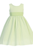 Green Cotton Seersucker Girls Easter Spring Dress w Poly Silk Sash (M642)