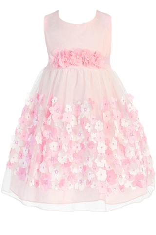 Girls Pink Mesh Overlay Dress Taffeta & Chiffon Flowers KD333
