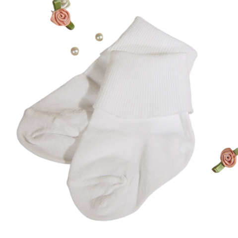 Pkg of 2 White Nylon Quality Dress Socks Infant Boys (2005SK)