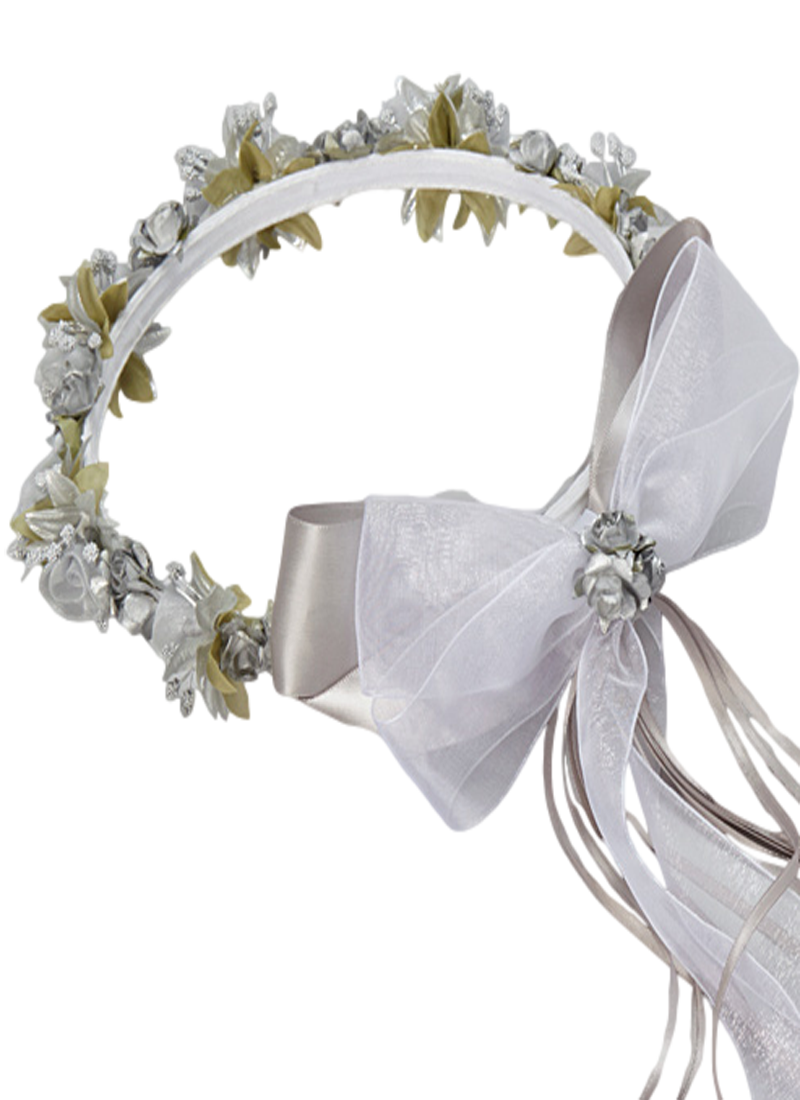 Silver silk satin ribbons floral crown wreath girls rachels promise silver floral crown wreath handmade with silk flowers satin ribbons bows girls izmirmasajfo