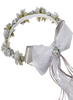 Silver Silk & Satin Ribbons Floral Crown Wreath Girls (HB007)