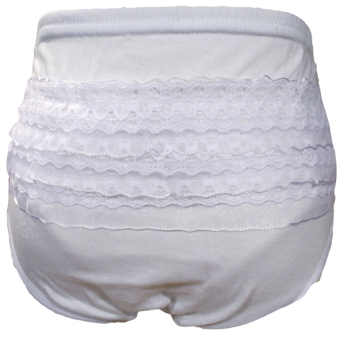 White Cotton Blend Knit Diaper Cover Bloomers with Rows of Lace (Infant Girls 0 – 12 months) (CK02DC)