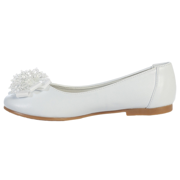White Dress Shoes w Crystal Cluster & Bow on Toe Girls (ANNA)