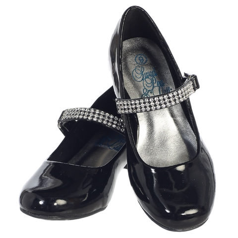 Black Short Heel Dress Shoes w Rhinestone Strap Girls (MIA)