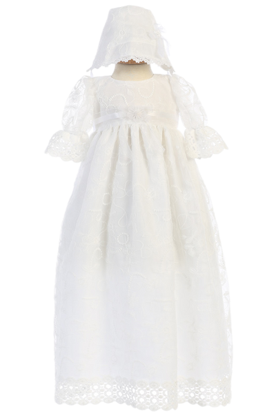 Embroidered Tulle & Lace Christening Gown Baby Girls (CHARLOTTE)