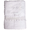 Baptism Towel White Terry Cotton with White Embroidery, Cross & Dove (Infants)